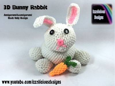 Rainbow Loom 3D Bunny Rabbit (Easter) Amigurumi.Loomigurumi Crochet Hook Only (loomless)
