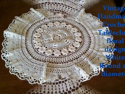 Vintage Handmade Crochet Tablecloth floral design White Round 25 inches diameter