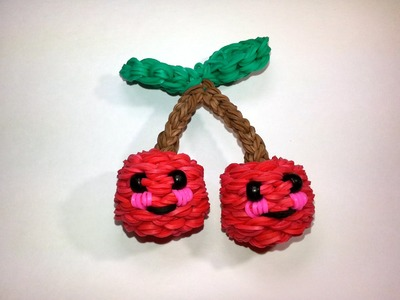 3-D Happy Cherries Tutorial by feelinspiffy (Rainbow Loom)