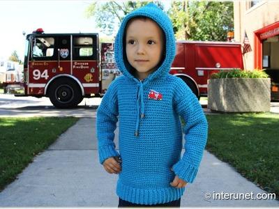 Crochet fire truck hooded pullover. Part 1 of 2
