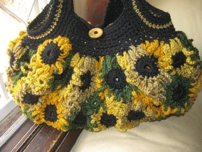 Crochet Flower Purse Tutorial 2 - Left Handed Crochet Tutorial - Connectors and Handles