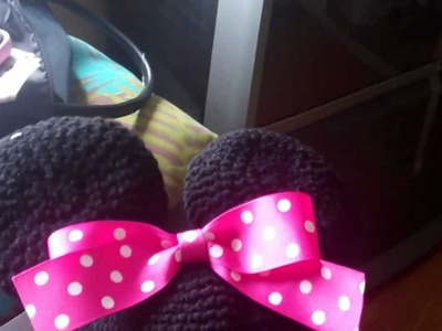 Crochet Minnie Mouse beanie with earflaps.