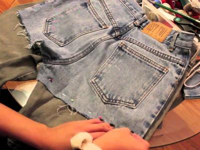 DIY: cut off denim shorts with lace
