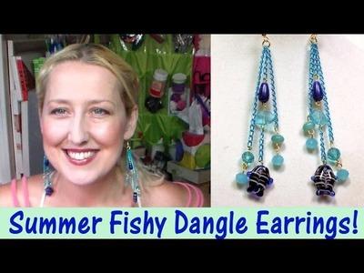 DIY fishy chain dangle earrings