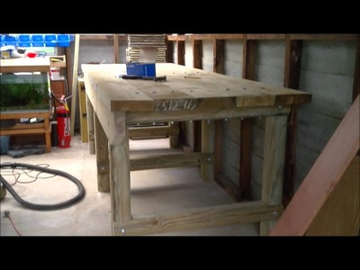 DIY heavy duty treated pine timber work bench.wmv