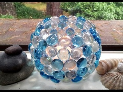 DIY How to Decorate Glass Votive Holder with Glass Bead Decorated Candle Holder