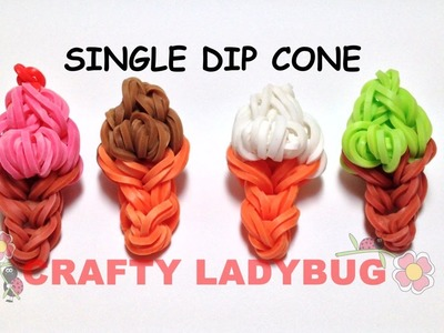 Rainbow Loom SINGLE DIP ICE CREAM CONE EASY CHARM Tutorial by Crafty Ladybug. Wonder Loom, DIY LOOM