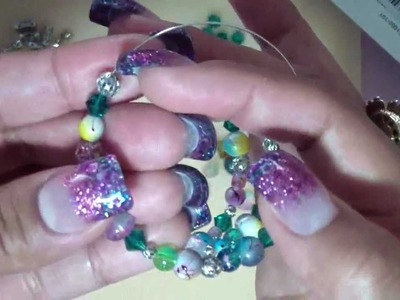 Super Easy Beaded Memory Wire Bracelet Tutorial!!