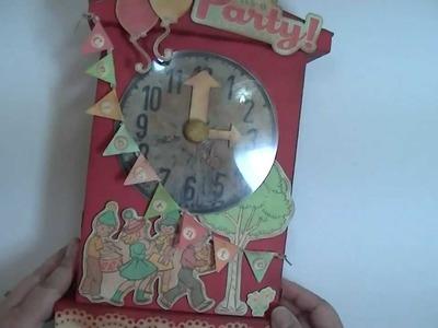 Vintage Toy Clock Mini Album Scrapbook October Afternoon Cakewalk