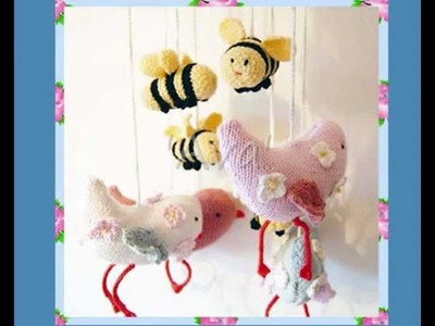 Ava Flutterby Large Bird & Bee Mobile or individual Toys DK and Aran Knitting pattern!