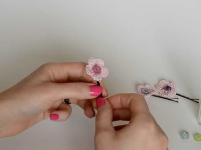 Crochet Flower Hairpin Tutorial