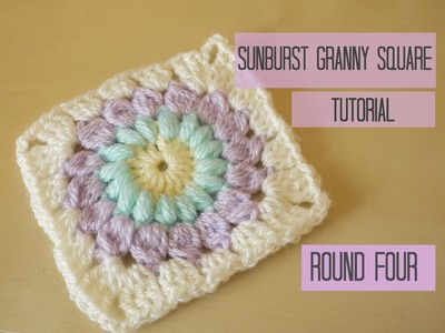 CROCHET: Sunburst granny square tutorial, ROUND FOUR | Bella Coco
