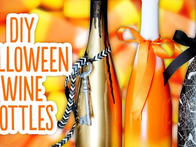 DIY Halloween Wine Bottles & Spooky Background