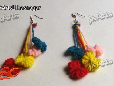 DIY How to make woolen bow Earrings Handmade Jewelry - JK Arts 383