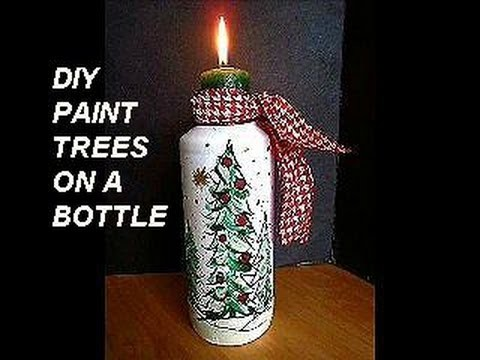 DIY PAINTED BOTTLE, TREES, Christmas vase, candle holder, Christmas tree