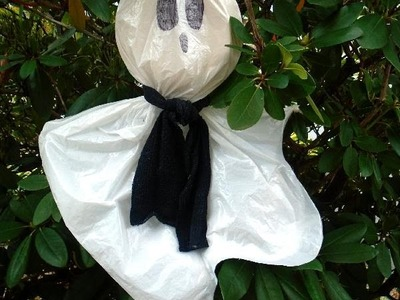 DIY - PLASTIC BAG HALLOWEEN GHOST, recycle, repurpose, reuse