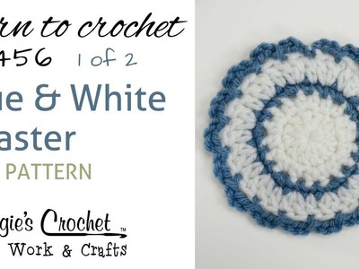 FP456 Blue and White Coaster - FREE PATTERN - Part 1 of 2 - Right Handed
