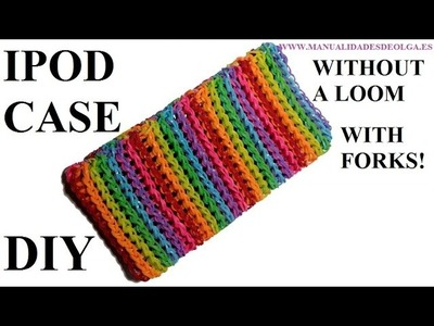 How to make IPOD CASE with 2 forks, without rainbow loom easy, tutorial diy iphone case rubber bands