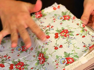 Let's DIY: Napkin decoupage on fabric purse