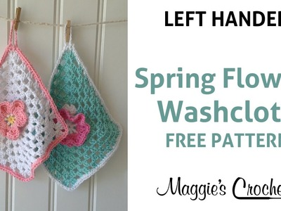 Spring Flowers Dishcloth Free Crochet Pattern - Left Handed