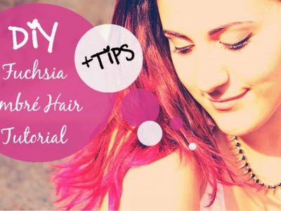 Tutorial : How to make DIY Fuchsia Ombré Hair. DIY Fuchsia ends + My tips and tricks! . ENG