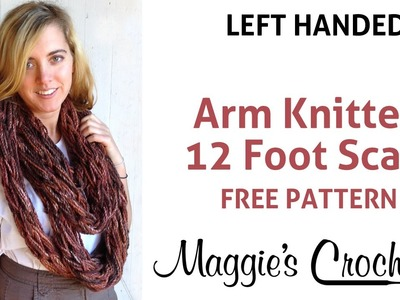12 foot Arm Knitted Chunky Scarf - Left Handed