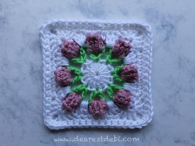Crochet Flower Bud Granny Square