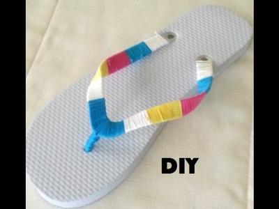 DIY: Colorful Thread Wrap Flip Flops