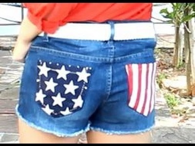DIY Jean Reconstruction: Stars and Stripes Pocket Shorts