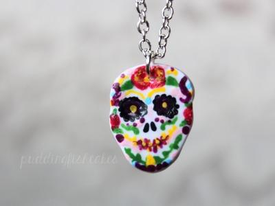 DIY: Sugar Skull Necklace Polymer Clay Halloween.Day of the Dead Tutorial