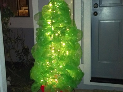 How to Make a Deco Mesh Tomato Cage Christmas Tree DIY Tutorial