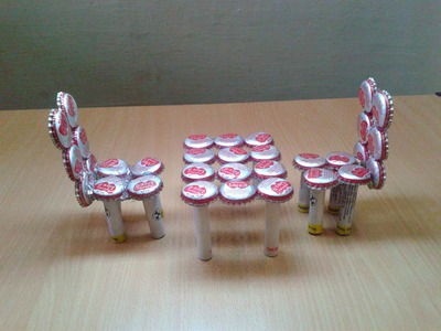 Make Miniature Table & Chairs from Waste Bottle Caps: Recycled Craft Ideas