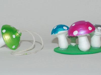 Mushroom craft ideas: Hand painted spun cotton ornaments