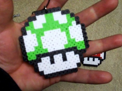 1up mario bros perler beads necklace