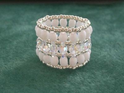 Beading4perfectionists : Swarovski -glass beads - miyuki (thumb) ring beading tutorial