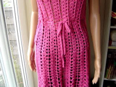 Colourful Crochet Vest, and pink dress made from a vintage pattern
