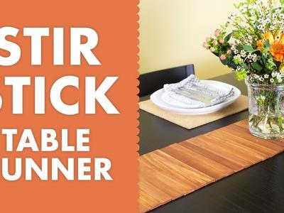 DIY Paint Stir Stick Wood Table Runner Tutorial