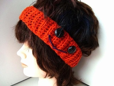 Halloween headband, pumpkin, how to crochet.