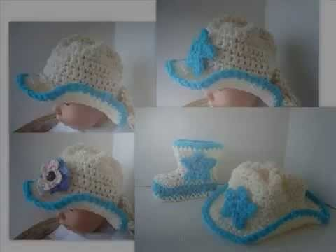 HOW CROCHET BABY COWBOY HAT AND COWBOY BOT