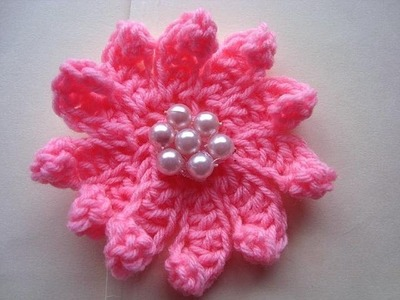 How to CROCHET FLOWER # 13, multi-petal flower, each petal made individually
