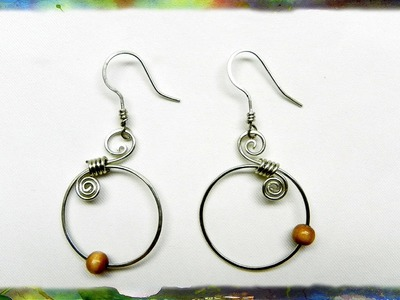 How to Make Silver Wire Spiral Earrings with Blue Beads