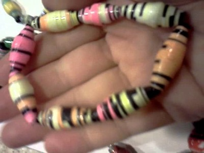 I Made Bracelets & a Necklace of Paper Beads