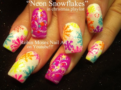 Nail Art Tutorial | DIY Easy Christmas Nails! | Neon Snowflake Nails & xmas Trees!