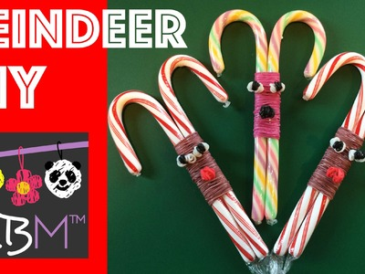 Rainbow Loom Band and Candy Cane Reindeer DIY Christmas Gift