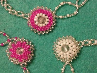Brick stitch flower fastening