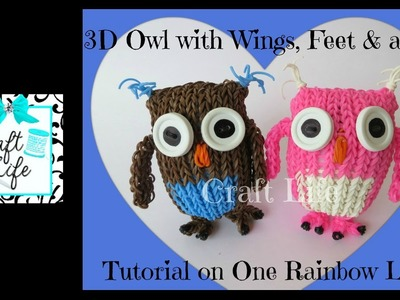 Craft Life 3D Owl Tutorial with Wings Feet & a Tail on One Rainbow Loom