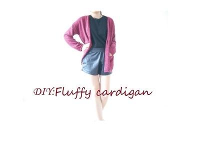 DIY: FLUFFY CARDIGAN with pockets :)