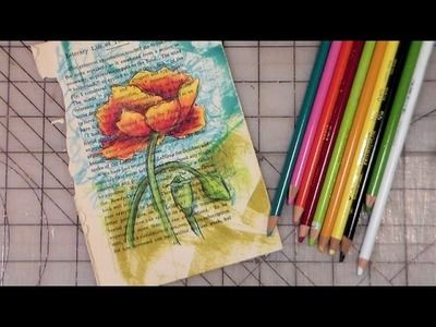 Freehand poppy on a bookpage colored pencil tutorial