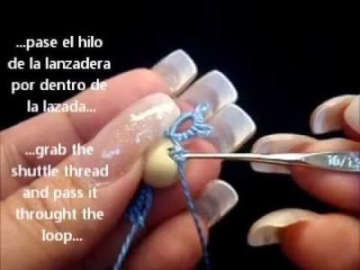 Frivolite-tatting lesson 100 - abalorio al centro - Bead at center of motif
