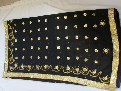 HOW TO CREATE DESIGNER ZORDOSI SAREE WITH SEQUINS, BEADS AND TRIM FOR LESS THAN TWENTY DOLLARS.